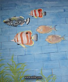 """""""Drawing sea objects on ceramic tiles for swimming pools"""" Swimming Pool Tiles, Iranian, Ceramics, Painting, Design, Ceramica, Pottery, Painting Art"""