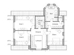 Haus Edition 455 Grundriss DG von Viebrockhaus Floor Plans, Houses, Attic, Home Plans, Detached House, Home And Garden, Entryway, Floor Plan Drawing, House Floor Plans