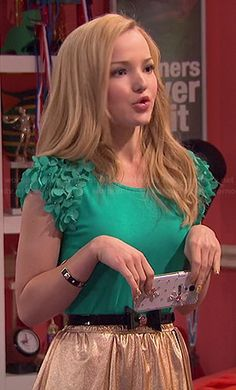 Liv's green floral sleeve top and gold skirt on Liv and Maddie Sabrina Carpenter, Band Outfits, Cute Outfits, Liv Y Maddie, Liv Rooney, Dove Cameron Style, Diana, Gold Skirt, Floral Sleeve