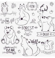 Forest animals silhouette vector by Julija on VectorStock®