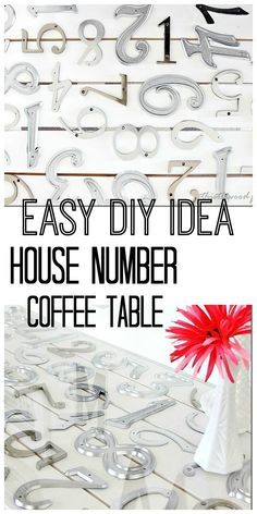 Easy diy project.  Make a table top with house numbers and glue.  thistlewoodfarms.com