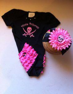 Girls Pirate Princess Outfit Set, Pirate Headband, 1st Birthday, Pink Pirate, Black and Pink Pirate Princess, Disney Baby, Baby Pirate