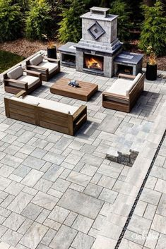 ✔ 60 small paver patio ideas pictures with fire pit 9 Design Patio, Backyard Patio Designs, Outdoor Kitchen Design, Backyard Landscaping, Patio Ideas, Cheap Patio Floor Ideas, Garden Design, Firepit Ideas, Pergola Ideas
