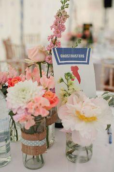Wedding Magazine - Real wedding flower ideas - jars of flowers, as seen at Katie and Adam's wedding