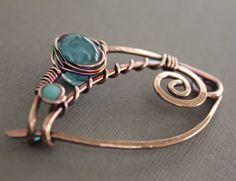 Denim blue shawl pin or brooch in swirly ornate by IngoDesign