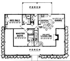 ! don't need staircase only want 2 bedrooms. enlargen master bath and add a pantry... First Floor Plan of Country   House Plan 77004