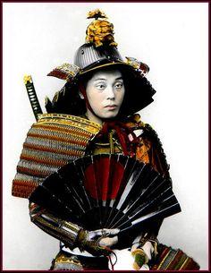 Portrait of Samurai Warrior in Medieval Japan Katana, Samurai Weapons, Samurai Armor, Kendo, Nagoya, Osaka, Japanese Culture, Japanese Art, Japanese War Fan