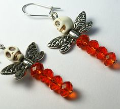 Skull and Orange Crystal Dragonfly -- Want a keychain like this!!!  Someone make this for me!!
