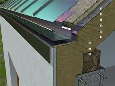 Non-erected roof - ventilation from the gutter or the gutter .Hoodless roof - ventilation from the gutter or the gutter . - # WHAT IS ROOF CLADDING? Roof Cladding, House Cladding, Timber Cladding, Detail Architecture, Architecture Plan, Interior Architecture, Modern Barn House, Roof Detail, Roof Structure
