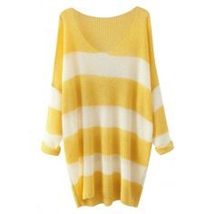 Chic Stripe Printed Long Sleeve Pullover Woman Sweater OASAP.COM (€25) ❤ liked on Polyvore