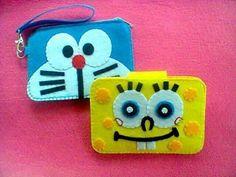 Monederos y fundas de móvil en fieltro: Doraemon y Bob Esponja