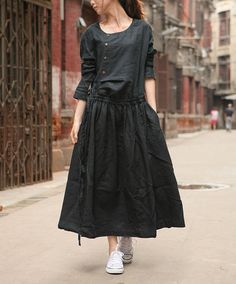 Linen Dress Gown in Black / Custom Long Bridesmaid by camelliatune, $78.00