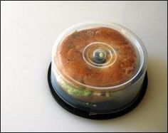 Keep a bagel in place using a CD Spindle #Genius!