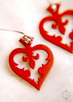 Fleur de lis jewelry heart spade earrings in red finish stainless steel - Alice in Wonderland jewelry. $19.00, via Etsy.