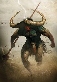"African Gods Serie : Efon (""Buffalo""), God of nature's blind forces and thunder - digital 2018 Mythological Creatures, Fantasy Creatures, Mythical Creatures, African American Art, African Art, Dark Fantasy, Fantasy Art, Vikings, Cool Works"