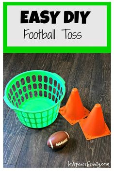 Here Come New Ideas for Football Party Family Traditions – Love Peace Beauty Easy DIY Football Toss for Kids Football Games For Kids, Kids Football Parties, Football Party Games, Football Crafts, Football Themes, Football Birthday, Sports Birthday, Sports Party, Kids Party Games