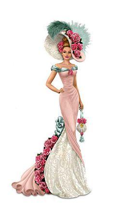 "Thomas Kinkade ""Blossoming Love"" Victorian Lady Figurine"
