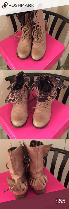 Tan Betsey Johnson boots Inside of boots are leopard print! Still in great condition Betsey Johnson Shoes Lace Up Boots