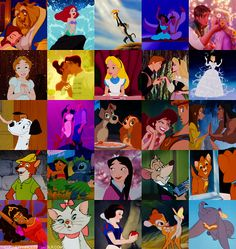 all my favorite movies: Disney classics! Beauty and the beast, the little mermaid, lion king, aladdin, tangled, peter pan, the princess and the frog, alice in wonderland, sleeping beauty, cinderella, 101 dalmatians, Pocahontas, lady and the tramp, hercules, tarzan, robin hod, lilo and stitch, mulan, the great mouse detective, oliver and co., hunchback, aristocats, snow white, bambi and dumbo!