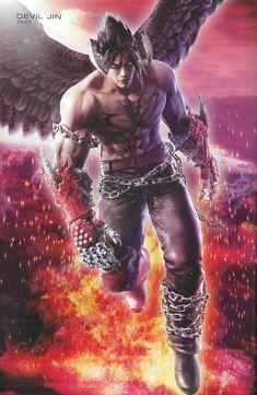 devil jin's tekken 6 artwork (from tekken 6 artbook) Jin Kazama, Main Character, Devil May Cry, Video Game Characters, Mortal Kombat, Game Art, Fairies, Videogames, Book Art