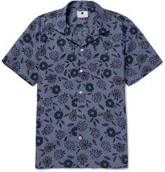 NN07 - Miyagi Camp-Collar Floral-Print Cotton Shirt