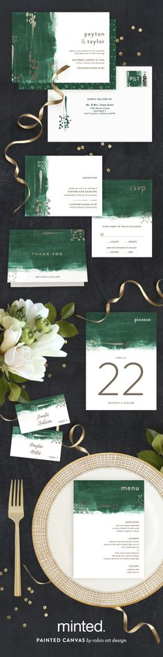 Show off your creative side with Minted artist Robin Ott's Painted Canvas wedding invitation and reception decor. Available exclusively at Minted.com