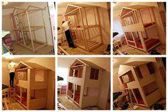 Löckchenzauber: Selbstgebaut nach einer Buntstiftskizze - Unser Kinder-Traumbett auf zwei Ebenen ♥
