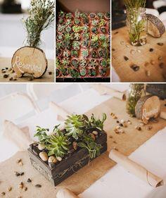 green wedding, succulents