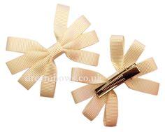 Cream/ivory grosgrain ribbon hair bows on alligator clips - £2.50 a pair from www.dreambows.co.uk #cream #ivory #bows #hairclips #hairbows #weddinghair #lovehair #style #glam #pretty #girlshair #fashionforhair #dreambows #dream #bows