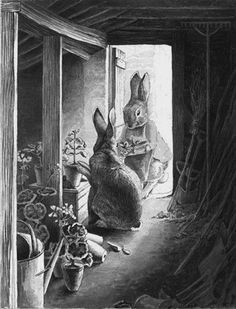 """Beatrix Potter- """"The Rabbits' Potting Shed"""", Pen & Ink. Love this movie! Thank you Becky for sharing! Love anything Beatrix Potter. Beatrix Potter Illustrations, Beatrice Potter, Peter Rabbit And Friends, Bunny Art, Children's Book Illustration, Book Illustrations, Caricature, Images, Sketches"""
