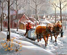 Peinture d'Yvon Bélanger Snow Scenes, Winter Scenes, Farm Pictures, Cute Pictures, Sugar Bush, Amish Farm, Farm Paintings, Perfect Peace, Fashion Painting