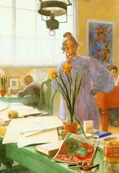 """Carl Larsson ~ """"My Wife""""  (Karin often stood this way and can be seen in several painting like this.)"""