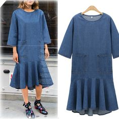 Casual Plus Size Women Dresses 2XL 3XL Summer Vestidos Pleated Dress Solid O-neck Three Quarter Sleeve Midi Denim Dress