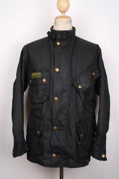 Mens BARBOUR International Suit WAX Jacket Navy Size 40