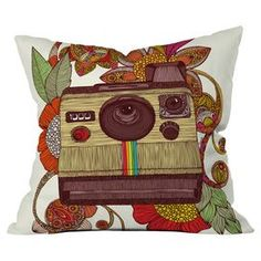 """Pillow with a patterned Polaroid camera motif by artist Valentina Ramos for DENY Designs. Made in the USA.  Product: PillowConstruction Material: Woven polyesterColor: MultiFeatures:  Dye sublimation printedZipper closureInsert included Designed by Valentina Ramos for DENY DesignsDimensions: 16"""" x 16"""""""