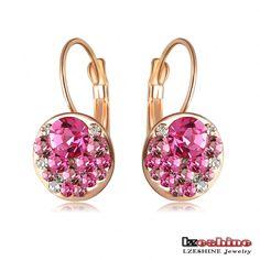 Aliexpress.com: Comprar Nueva Moda Ronda Pendientes oro de 18K Rose plateado con cristales austriacos pendientes de las mujeres al por mayor de joyería ER0118 de acrílico pendientes fiable proveedores en Yiwu Longzhi Jewelry Co., Ltd.