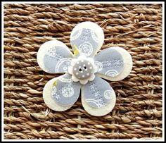 Free Hand Embroidered Felt and Fabric Flower Brooch £4.95