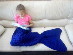 Knit mermaid tail plaid, warm wool blanket, Purple mermaid tail, Blue child mermaid throw Wool Blanket, Cribs, Beds, Mermaid, Plaid, Warm, Knitting, Trending Outfits, Purple