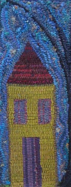 "Laura Kenney Rugs: ""A House"" sky Rugs And Mats, Latch Hook Rugs, Rug Hooking Patterns, Hand Hooked Rugs, Purple Home, Wool Art, Rag Rugs, Wool Rugs, Penny Rugs"