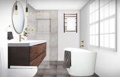 Modern Industrial Bathroom by DiVito Designs Industrial Bathroom Design, Modern Industrial, Modern Bathroom, Online Interior Design Services, E Design, Bathtub, Spa, Minimalist, Standing Bath