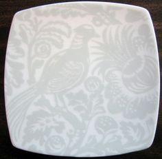 Decorative Dishes - Mini Gray on White Bird Leaves Square Plate Tile
