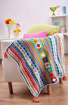 Sampler Blanket by Janine Holmes - free pattern download in 3 parts (log-in required)