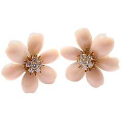 Van Cleef & Arpels Rose de Noel Diamond Angel Skin Coral Yellow Gold Earrings
