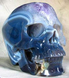 This awesome skull was carved from an agate geode lined with amethyst crystals. It comes from Brazil, measures inches long (from front to back), and weighs pounds. Agate Geode, Crystal Skull, Blue Topaz Ring, Amethyst Crystal, Memento Mori, Skull Art, Making Out, Sculpture Art, Things To Come