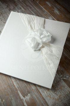 Wedding Guest Book with taffeta bow