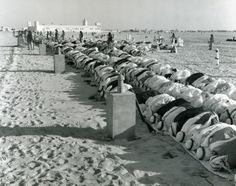 Outdoor prayer in Abu Dhabi, 1960