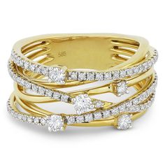 0.78ct Round Cut Diamond Right-Hand Overlap Loop Fashion Ring in 14k Yellow Gold - AlfredAndVincent.com