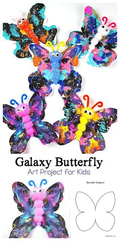 Galaxy Butterfly Art Project for Kids: Use blotto painting to make this colorful and easy butterfly crafty for children. This simple spring craft comes with a free printable butterfly template! ~ BuggyandBuddy.com #butterflycraft #blotto #blottart #galaxyart #galaxycraft #butterflytemplate #springcraftsforkids #butterflies #artforkids #craftforkids