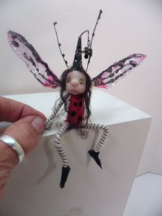 ooak pose-able LADY BUG pixie FAIRY (35 ) art doll by DinkyDarlings 53E