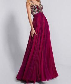 Chiffon Bateau Neckline A-line Prom Dress With Lace Appliques by prom dresses, $182.82 USD